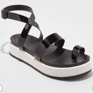 A New Day Platform Black Sandals